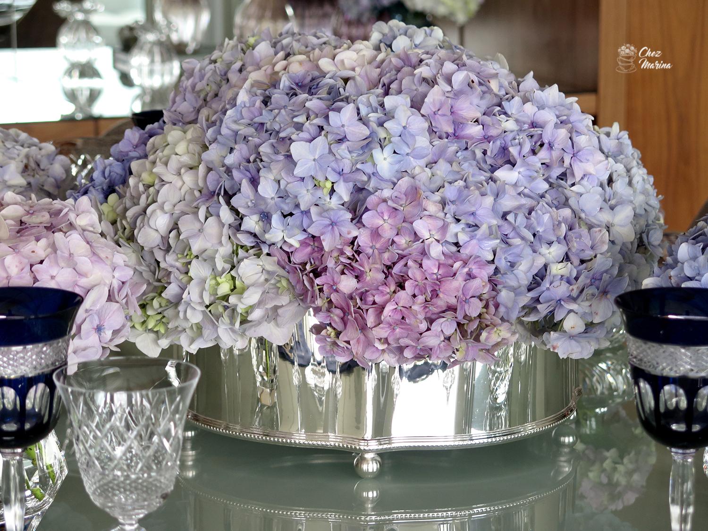 como fazer arranjo de flores com hortênsias